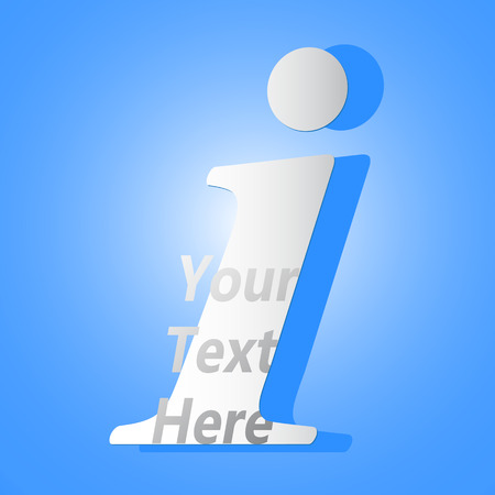 your text here: info icon with your text here on blue background