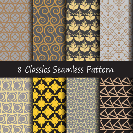 gold leafs: Pattern seamless classics retro style with gold pattern