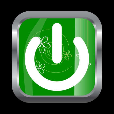 Power envelope icon on glossy green square button isolated on black Vector