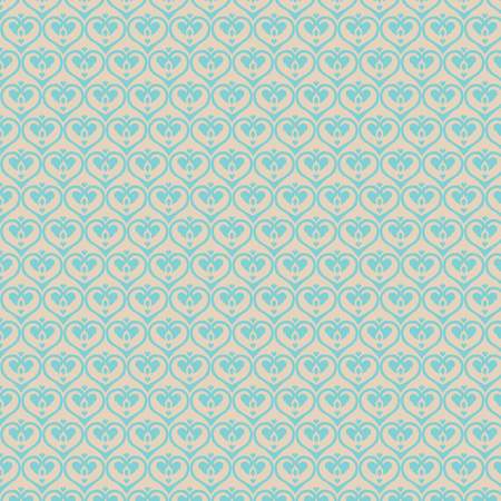 heart tone: Retro seamless classics pattern heart shape in blue and gold soft color Illustration