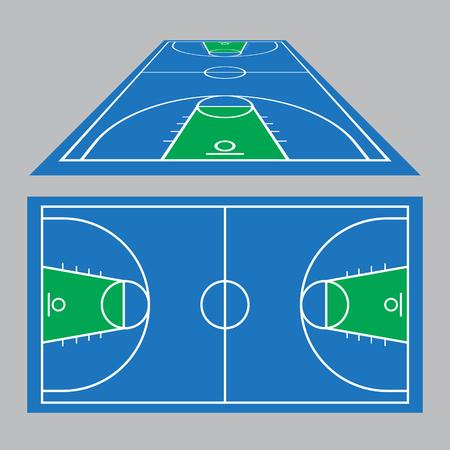 Vector Illustratie van het basketbalveld gebied grond in blauw en groen