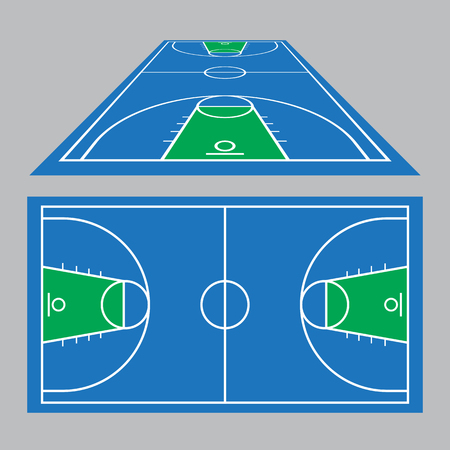 Vector Illustration of the Basketball Court Field Ground in blue and green