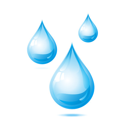 Blue shiny water drop. Vector illustration