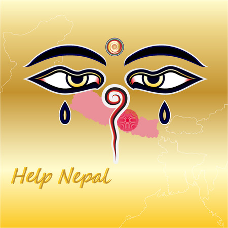 cry for help: Help nepal with map and Wisdom Eyes cry  concept for help nepal Illustration