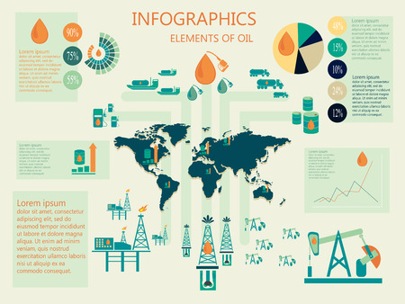 succession: Infographics of oil industry elements