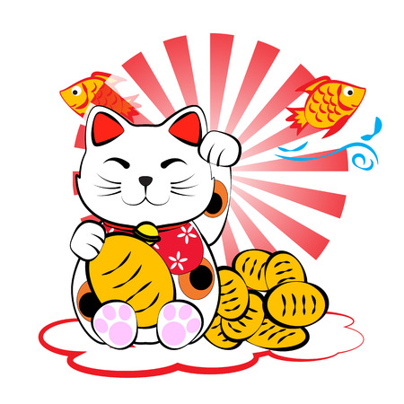 luck: Japanese lucky cat meneki neko with gold and fish for lucky money and plentifully Illustration
