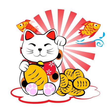 money cat: Japon�s afortunado del neko Meneki gato con el oro y el pescado por dinero suerte y abundancia