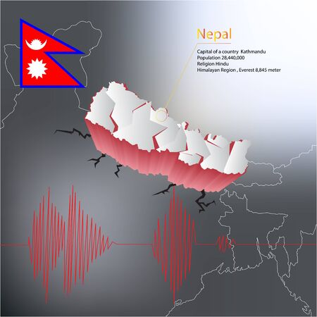 nepal: Nepal earthquake Map with highlighted Nepal map and flag