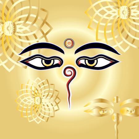 Traditional Buddha eyes symbol Wisdom Eyes with gold henna mandalas lotus flower background Vector