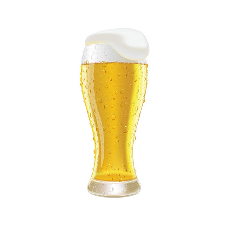 quench: Glass fresh beer with cap of foam and water drop isolated on white background vector illustration