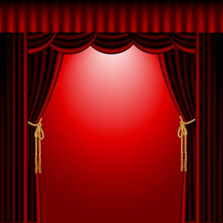 red stage curtain: illustration of red stage curtain drape on red background Illustration