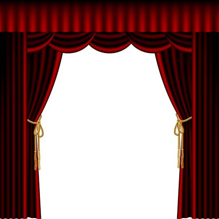illustration of red stage curtain drape on white background Vector