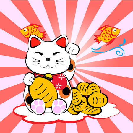 Japanese lucky cat meneki neko with gold and fish for lucky money and plentifully frag background Vector