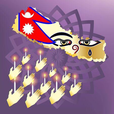 third eye: Pray for nepal hand with candle light pray for nepal with nepal map flag wisdom eyes and purple henna mandalas Illustration