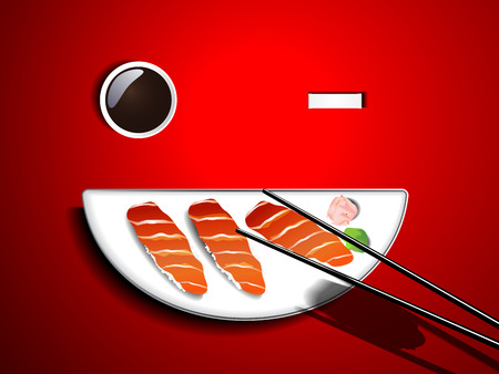 Sushi salmon white smile plate and chopsticks on red table Vector
