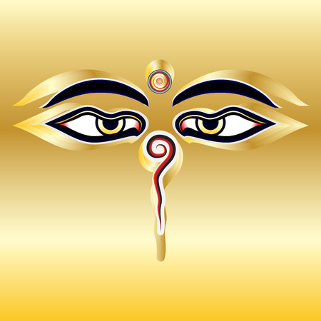 Traditional Buddha eyes symbol Wisdom Eyes with gold background Vector