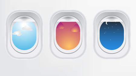 Venster van vliegtuig (lange vlucht concept). Creatief ontwerp van reizen per vliegtuig. Interieur van luchtvaartuigen met de dag zonsondergang en nacht uitzicht vanaf de patrijspoort.