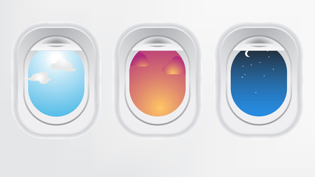 morning noon and night: Window of airplane aircraft (long flight concept). Creative design of travel by plane. Interior of aircraft with day sunset and night of view from Porthole.