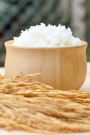 accompaniment: bowl full of rice and ear of rice on wooden background
