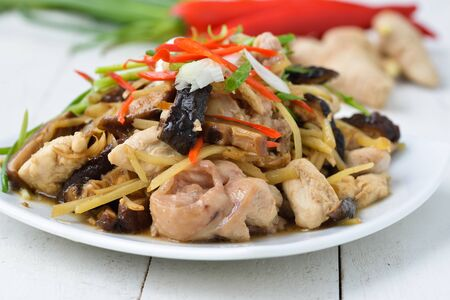 thailand food: Stir fried chicken, ginger and mixed vegetables Stock Photo