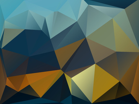 rumpled: Yellow and dark blue abstract geometric rumpled triangular low poly style vector illustration graphic background Illustration