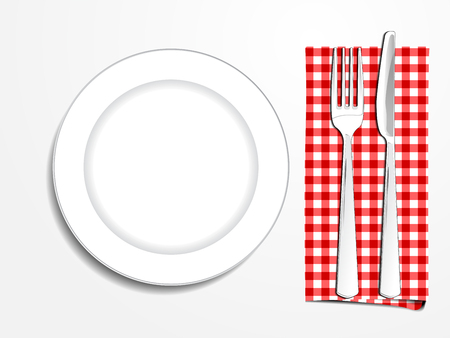 plate setting: Plate setting white with red checkered napkin knife and fork top view vector illustration