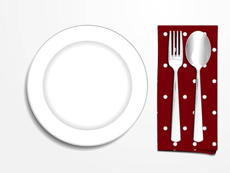 plate setting: Plate setting white with red polka dot napkin spoon and fork top view vector illustration