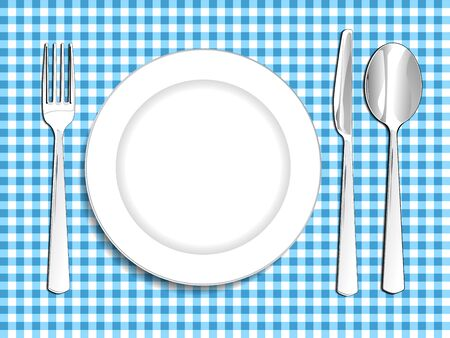 plate setting: Plate setting white blue checkered tablecloth spoon knife and fork vector illustration