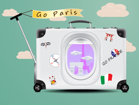 Eiffel tower and Arc de Triomphe see through the air plane window on the gray baggage on blue background concept of travel paris france Vector