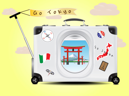 tokyo japan: Fuji mountain and Tori red gate see through the air plane window on the gray suitcase baggage on yellow  background concept of travel tokyo Japan