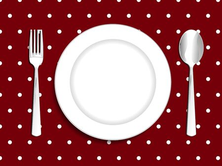 plate setting: Plate setting white with red tablecloth white polka dot spoon and fork vector illustration