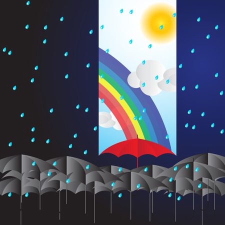 rainbow umbrella: Leader holding red umbrella for show different think with blue sky sunshine day with rainbow and sun among dark rainy day