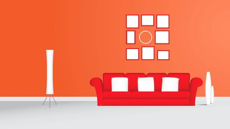 living room wall: Living room with red sofa picture frame and white lamp orange wall more empty space living room vector illustration