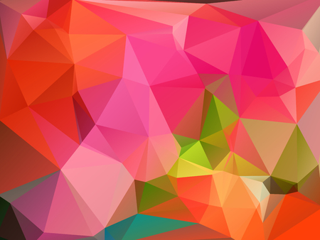 rumpled: Colorful pink red green abstract geometric rumpled triangular low poly style vector illustration graphic background Illustration