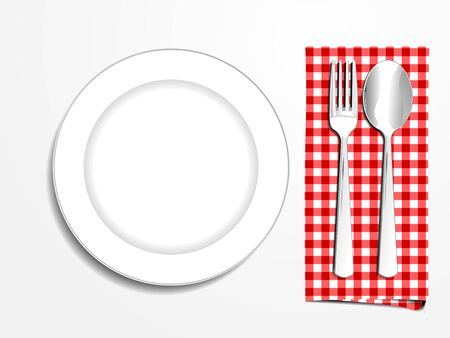 plate setting: Plate setting white with red checkered napkin spoon and fork top view vector illustration
