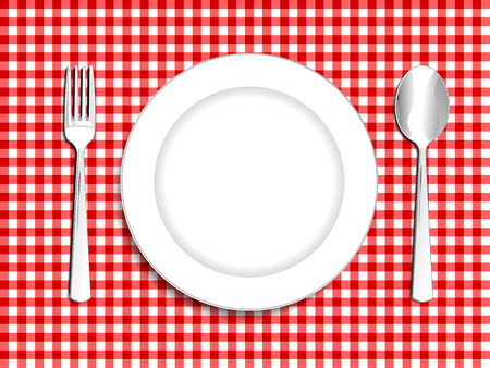 plate setting: Plate setting white with red checkered tablecloth  spoon and fork vector illustration