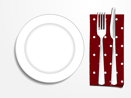 plate setting: Plate setting white with red polka dot napkin knife and fork top view vector illustration