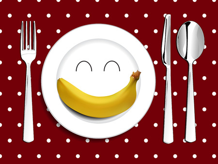 plate setting: Plate setting white smile happy plate with banana with red tablecloth white polka dot spoon knife and fork vector illustration happy meal concept