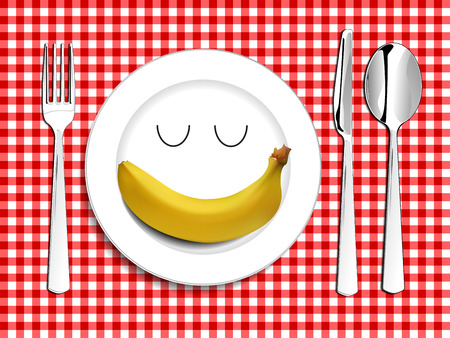 breakfast plate: Plate setting white smile happy plate with banana with red checkered tablecloth spoon knife and fork vector illustration happy meal concept