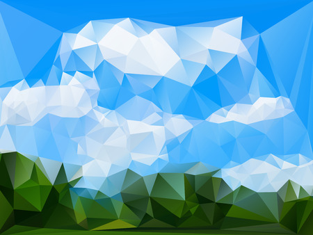 rumpled: Blue sky summer with cloud abstract geometric rumpled triangular low poly style vector illustration graphic background Illustration