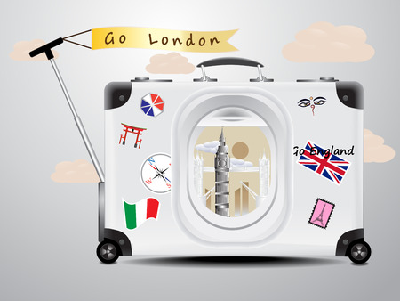 tower bridge: Tower Bridge and Big Ben see through the air plane window on the gray suitcase baggage on gray background concept of travel London england