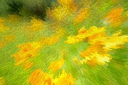 implode: Abstract extrude yellow flowers in field outdoors for background