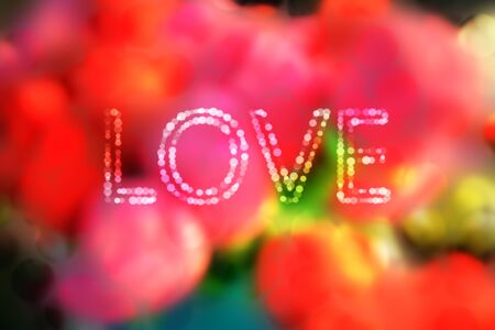 reds: Romantic bokeh blurred background of reds pink yellow green and soft colors with text LOVE in bokeh