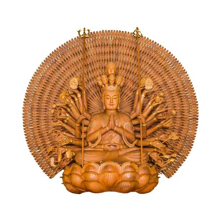 quan yin: The Goddess of Mercy a thousand hands Guanyin Buddha pagoda  wooden statue, known as Quan Yin or Guan Yin or Guan Yim, isolated on white