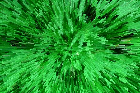 implode: Abstract extrude green bamboo leaves for background