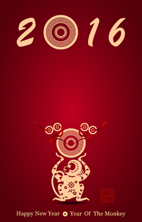 Chinese new year greeting card with monkey vector illustration , Red stamps which on the attached image Translation: Lucky, and another one is New year gets rich
