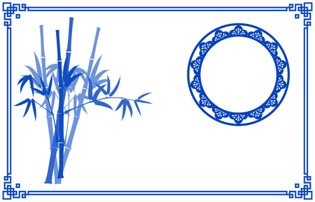 bamboo border: Chinese traditional Blue and White background with bamboo border and moon Illustration
