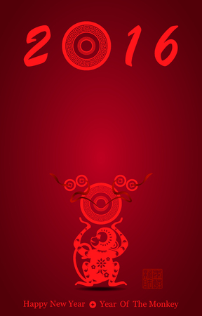 immensely: Chinese new year greeting card with red monkey vector illustration , Red stamps which on the attached image Translation: Lucky, and another one is New year gets rich Illustration