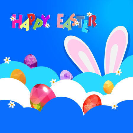 hide: Easter background with decorated Easter eggs hide on cloud and bunny ears