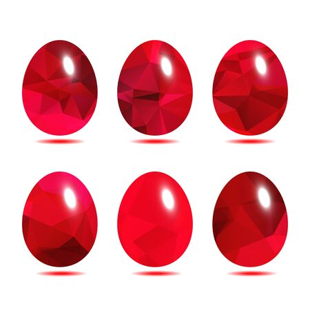 paschal: Easter eggs set  low polygon in Red rose color isolated on white background vector illustration